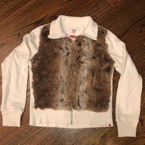 Fur (faux) trimmed zip up sweatshirt
